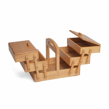 Cantilever Sewing Box Wood -  3 Tier