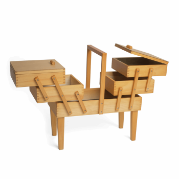 Cantilever Sewing Box Wood - 3 Tier with Legs