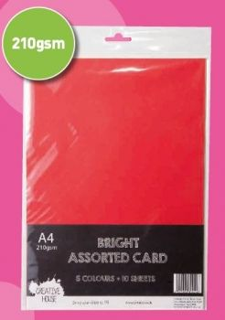 A4 210gsm Bright Coloured Card 10 Sheets Creative House