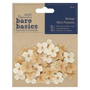 Papermania Bare Basics Burlap Mini Flowers (32pcs)