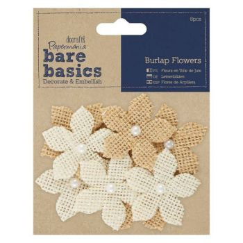 Papermania Bare Basics Burlap Flowers (8pcs)