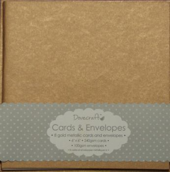 Dovecraft Metallic Antique Gold 6x6 Cards and Envelopes