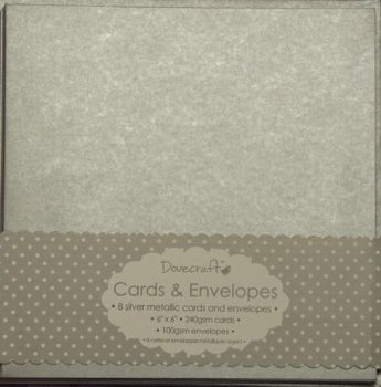 Dovecraft Metallic Silver 6x6 Cards and Envelopes
