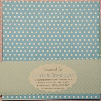 Dovecraft Pastel Polka 6x6 Cards and Envelopes