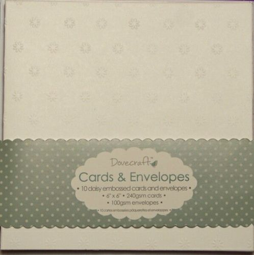 Dovecraft Daisy Embossed flower 6x6 cards & envelopes
