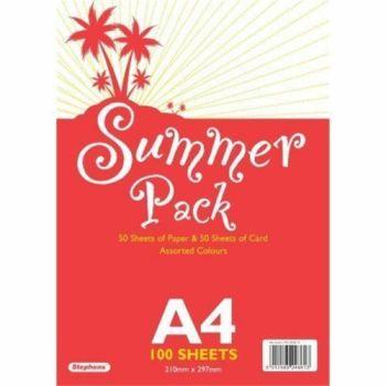 Stephens - A4 50 Sheets Paper & 50 Sheets Card - Summer