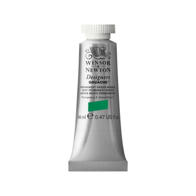 Winsor and Newton Designers Gouache 14ml - Permanent Green Middle