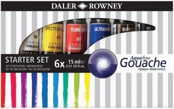 Daler Rowney Aquafine Gouache 6 x 15ml Set
