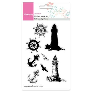 Crafts Too 3D Clear Stamp Set - Multi Layer Lighthouse (8pcs)