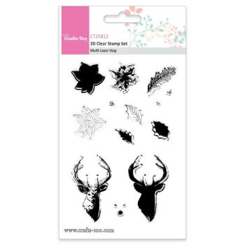 Crafts Too 3D Clear Stamp Set - Multi Layer Stag (13pcs)