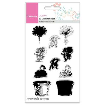 Crafts Too 3D Clear Stamp Set - Multi Layer Succulents (10pcs)