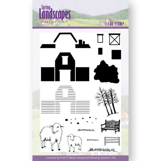 Jeanine's Art Spring Landscapes Clear Stamps - Farm