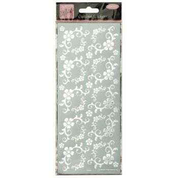 Outline Stickers - Fanciful Floral Corners - Silver