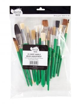 Assorted Brush Bag - 25 Short Handle
