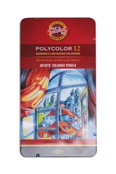 KOH-I-NOOR POLYCOLOR 12 SET ARTISTS' COLOURED PENCILS