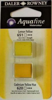 DR AQUAFINE Half Pan Set 1 Lemon Yellow & Cadmium Yellow Hue