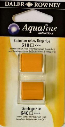 DR AQUAFINE Half Pan Set 2 Gamboge Hue & Cadmium Yellow Deep Hue