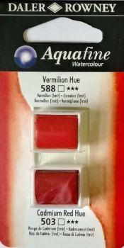 DR AQUAFINE Half Pan Set 4 Vermilion Hue & Cadmium Red Hue