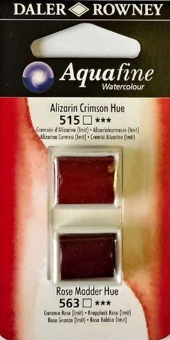DR AQUAFINE Half Pan Set 5 Alizarin Crimson Hue & Rose Madder Hue