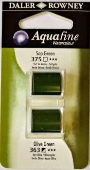 DR AQUAFINE Half Pan Set 16 Sap Green & Olive Green