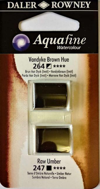 DR AQUAFINE Half Pan Set 20 Vandyke Brown & Raw Umber