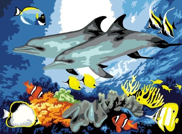 Royal and Langnickel Painting by numbers  : Dolphins Junior