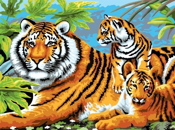 Royal and Langnickel Painting by numbers  : Tiger & Cubs Junior