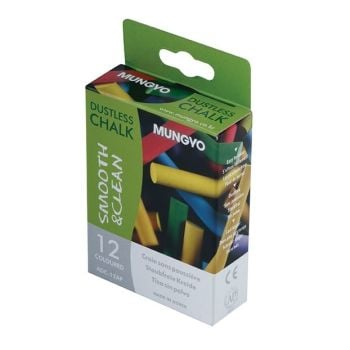 DUSTLESS CHALK - 12 COLOURED STICKS ASSORTED