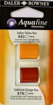 DR AQUAFINE Half Pan Set 3 Indian Yellow and Cadmium Orange Hue