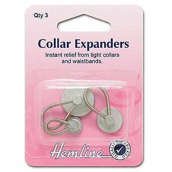 Hemline Collar Expanders - Qty 3 - 11, 15 & 19mm