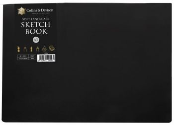 A3 LANDSCAPE SOFT SKETCH BOOK - CREAM PAPER - BLACK COVER - 20 pages