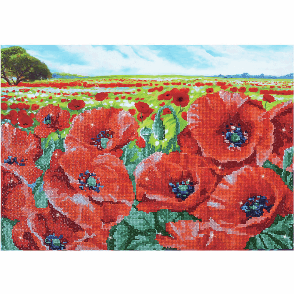 Diamond Painting Kit: Red Poppy Field