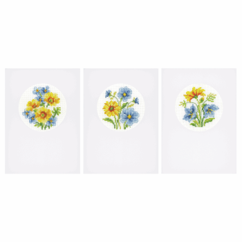 Counted Cross Stitch Kit: Card: Blue & Yellow Flowers: Set of 3