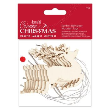 WOODEN SANTA'S REINDEER TAGS (9PK) - CREATE CHRISTMAS