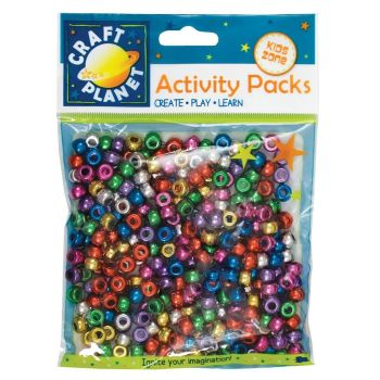 PONY BEADS METALLIC (300PCS 80G) - ASSORTED COLOURS