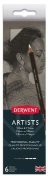 DERWENT ARTIST PENCILS TIN 6 BLACK AND WHITE