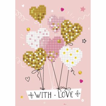 Diamond Painting Kit: Greeting Card Kit: Love Balloons