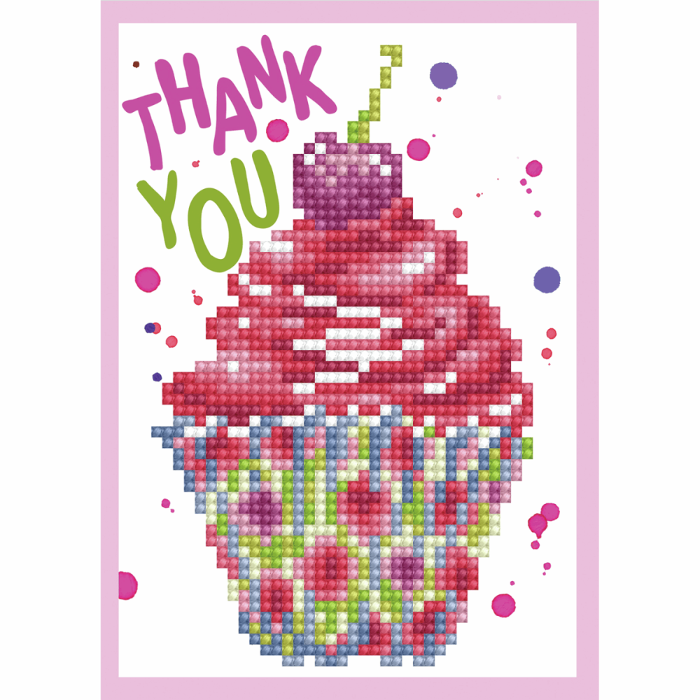 Diamond Painting Kit: Greeting Card Kit: Cup Cake Thank You