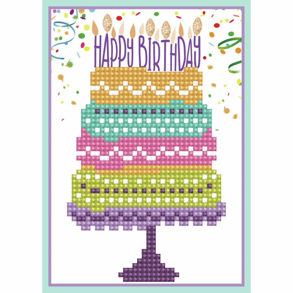 Diamond Painting Kit: Greeting Card Kit: Happy Birthday Cake