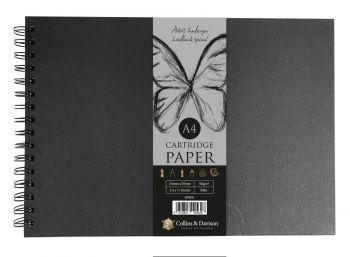 A4 LANDSCAPE ARTIST HARDBACK SPIRAL SKETCH BOOK BLACK COVER