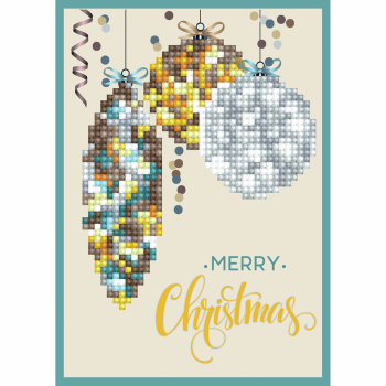 Diamond Painting Kit: Greeting Card Kit: Merry Christmas Baubles: Antique