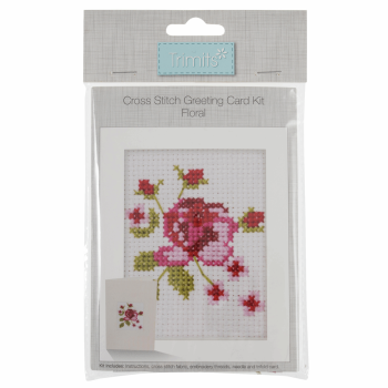 Counted Cross Stitch Kit: Card: Floral
