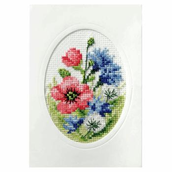 Cross Stitch Card: Poppies
