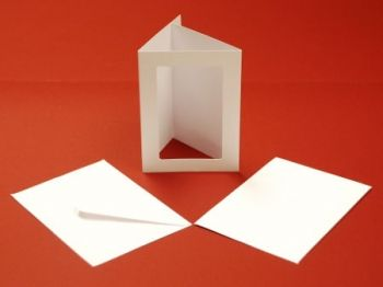 A5 WHITE TRI-FOLD APERTURE Cards and Envelopes 10 PK