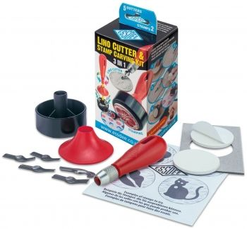 3 IN 1 LINO CUTTER & STAMP CARVING KIT - 5 CUTTERS