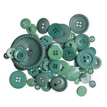 Bag of Craft Buttons: Assorted Green: 50g