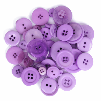 Bag of Craft Buttons: Assorted Purple: 50g
