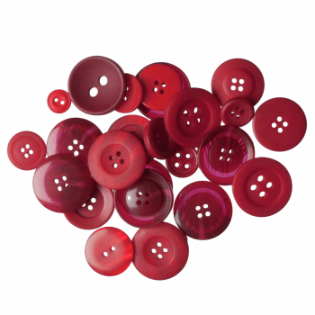 Bag of Craft Buttons: Assorted Red: 50g
