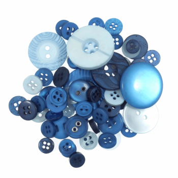 Bag of Craft Buttons: Assorted Blue: 50g