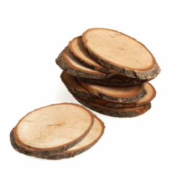Wooden Tree Trunk Pieces: 4.7 x 7cm: Pack of 9: Natural